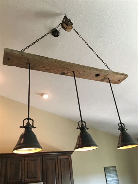 barn wood pulley vaulted ceiling light fixture pendants