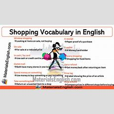 Shopping Vocabulary In English  Materials For Learning English