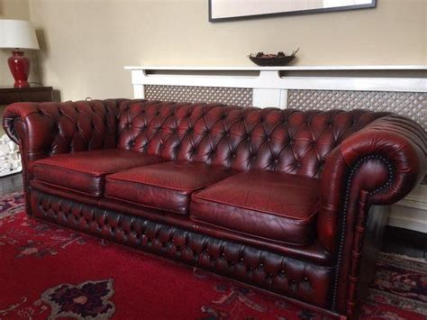 3 seater oxblood leather chesterfield sofa for sale