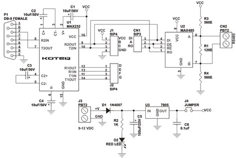rs232 to rs 485 module schematic using max232 max485 circuit ideas i projects i schematics i