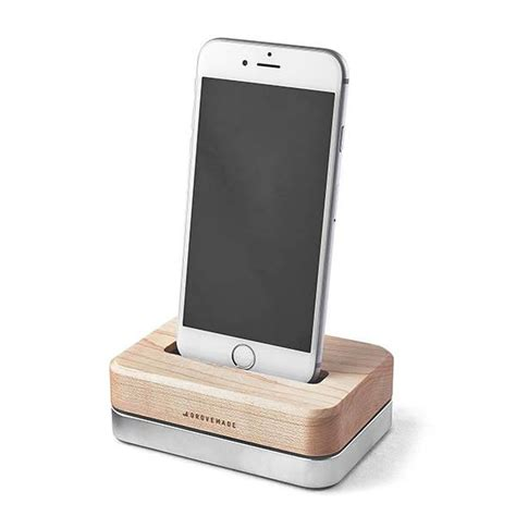 wooden charging station grovemade wood and aluminum charging station for iphone