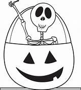 Skeleton Coloring Printable Pages Halloween Pumpkin Skeletons Sheets Easy sketch template