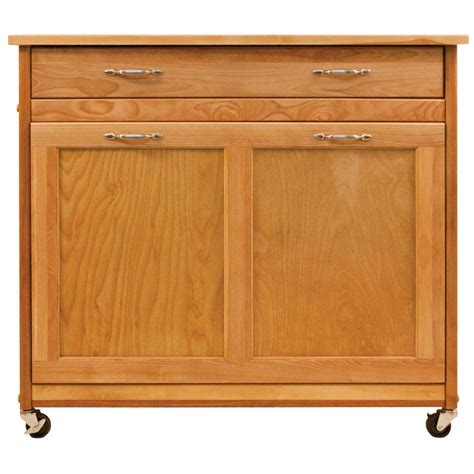 kitchen island  recycling trash solid wood natural birch