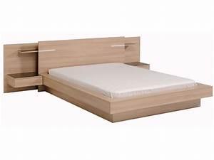 Lit En 160x200 : lit deux personnes en bois avec environnement de lit zen ~ Teatrodelosmanantiales.com Idées de Décoration