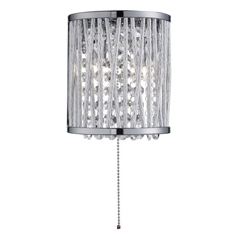searchlight elise modern crystal wall light in chrome