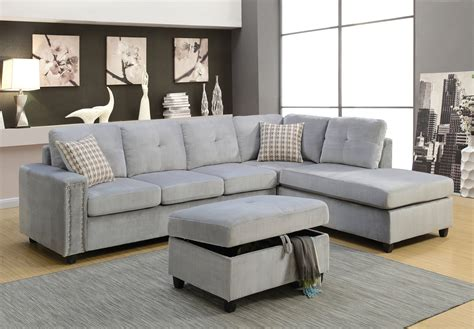 gray sectional furniture acme furniture belville gray reversible sectional sofa