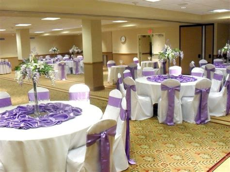 Lilac, White And Silver Wedding Reception At The Hilton In