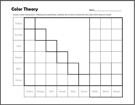 color theory worksheet color theory mixing chart worksheet print