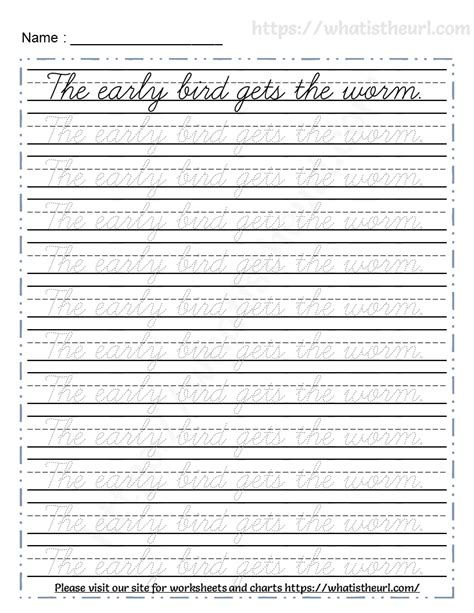 tracing cursive proverbs worksheet   home teacher