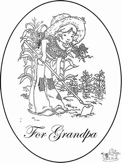 Grandpa Pages Coloring Card Colouring Birthday Happy
