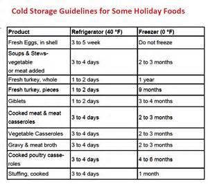Leftover Food Storage Chart