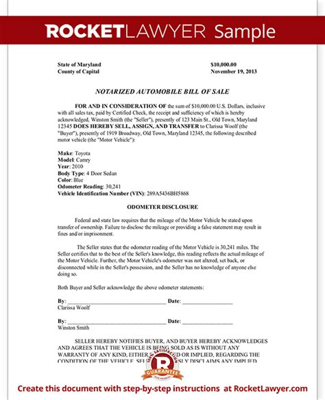 notarized document template notarized automobile bill of sale form template with sle