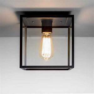 Astro lighting box outdoor porch light in black