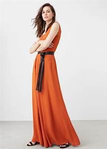 robe orange mango maxi longue lavalliere la robe longue With maxi robe longue