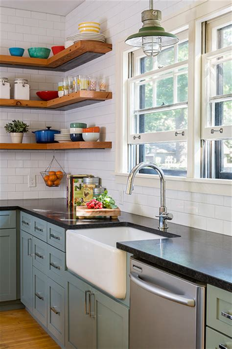 kitchen open cabinets reclaimed open shelving farmhouse kitchen Farmhouse