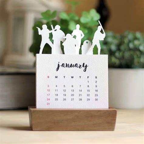 handmade minimal star wars desk calendar   wood