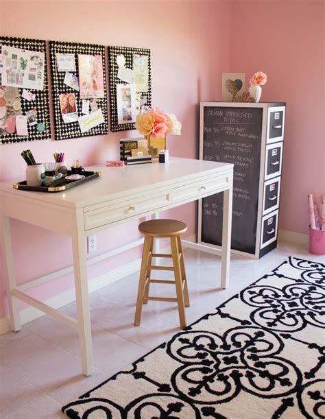 pink home office my pink office and craft room reveal design improvised