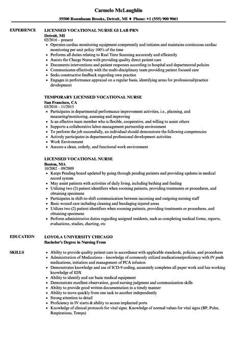 licensed vocational nurse resume samples velvet jobs