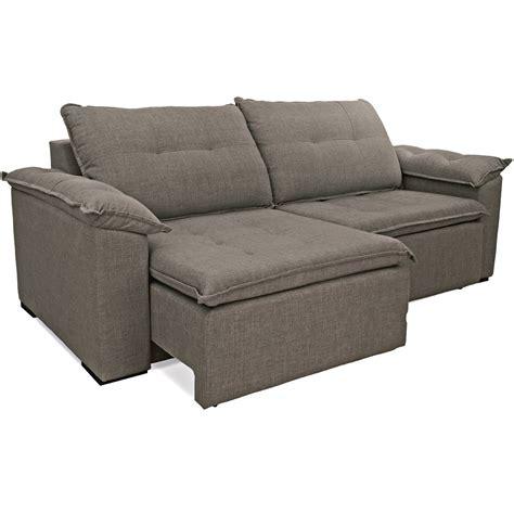 sofa tres lugares cinza sof 225 3 lugares retr 225 til em tecido cinza bipartido triton