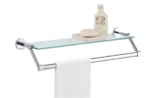 Bathroom Tempered Glass Wall Mounting Shelf With Chrome