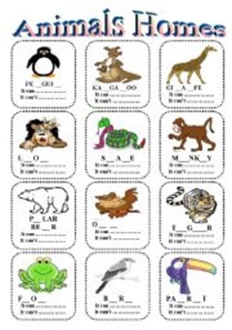 english worksheets animal homes