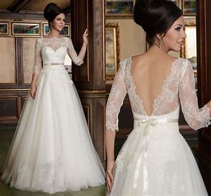 bridal gown tailored a line 3 4 sleeves lace top soft With lace top tulle skirt wedding dress