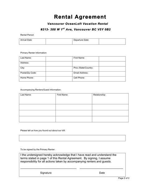 Rental Agreement Template Excellent Editable Rental Agreement Template With Table