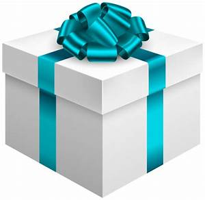 White Gift Box with Blue Bow PNG Clipart - Best WEB Clipart