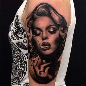 Famous Hollywood Star Marilyn Monroe Portrait Face Tattoo ...