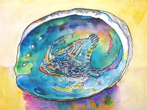 abalone shell tropical color painting by carlin blahnik