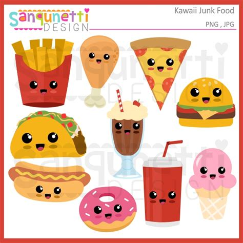 lunch bags for sanqunetti design kawaii junk food clipart