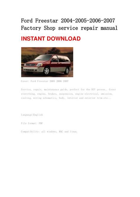 ford freestar owners manual