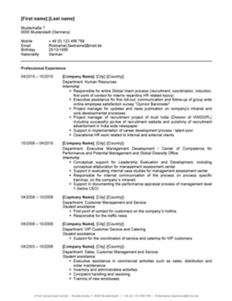 Lebenslauf Englisch Muster by Curriculum Vitae Lebenslauf Englisch Vorlage