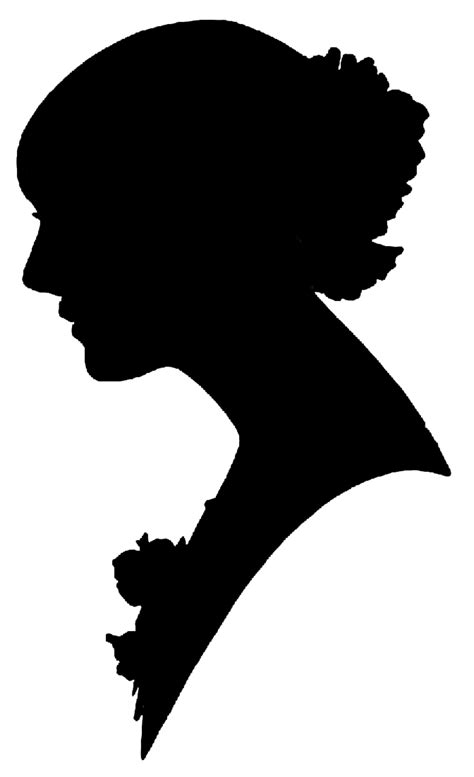 silhouette clipart vintage women call  victorian
