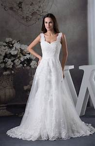 Modest hall a line thick straps sleeveless court train for A line wedding dresses with straps