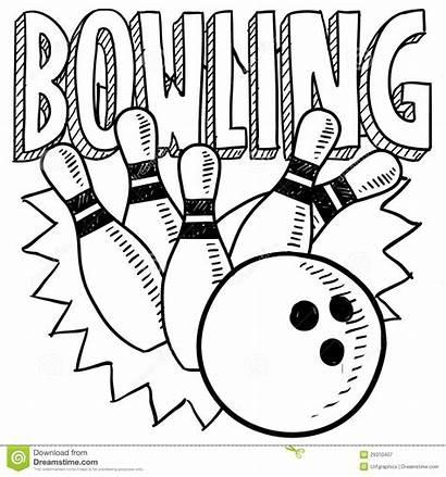 Bowling Doodle Sketch Pins Schets Clipart Kegeln