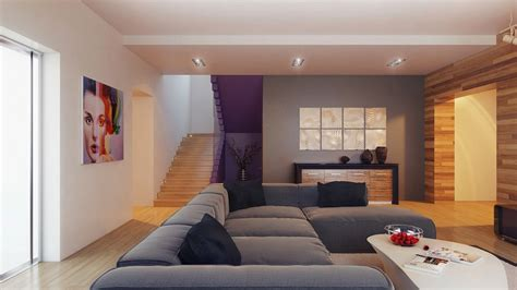 wood clad feature wall gray wall decor and grey sofa in