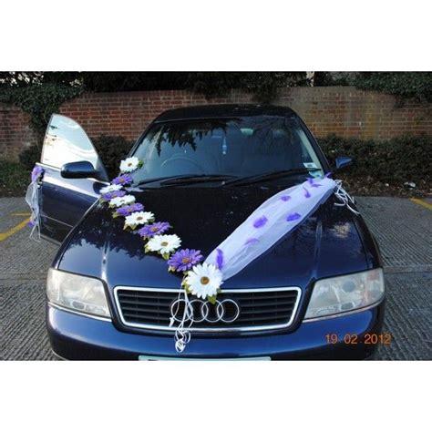 d 233 coration voiture mariage marguerites tulle blanche avec des plumes couleur prune et des 7 x