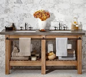 Distressed Bathroom Vanity Diy by Rustikaler Holz Waschtisch Mit Betonplatte Von Pottery Barn