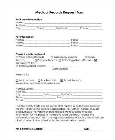 medical records request form samples   documents