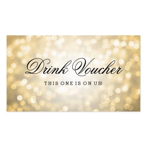 Drink Token Template by Wedding Drink Voucher Gold Glitter Lights Business Card