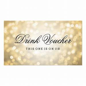 wedding drink voucher gold glitter lights business card With drink token template