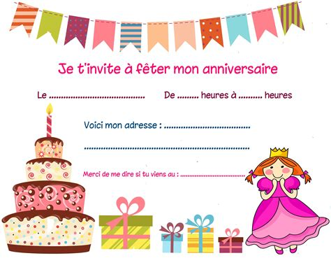 Carte Anniversaire Fille by Carte Invitation Anniversaire Fille Carte Invitation