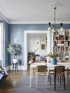 A, Scandinavian, Apartment, Decorated, In, Blue, And, Grey, Tones