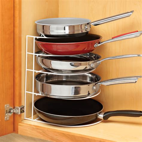 pots and pans rack cabinet kitchen pan organizer pantry frying pans storage rack