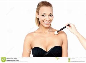 Woman Getting Makeup Applied On Her Body Stock Images ...