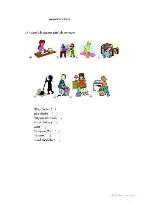 household chores worksheet  esl printable worksheets   teachers