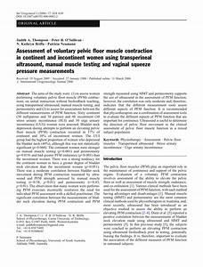Pdf  Assessment Of Voluntary Pelvic Floor Muscle