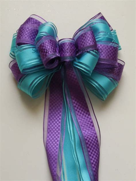 Purple Blue Peacock Wedding Pew Bow Aqua Blue Orchid Party