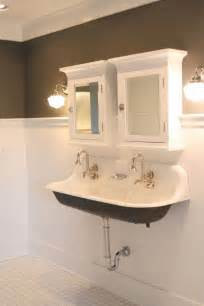 interesting bathroom trough sink double faucet with two